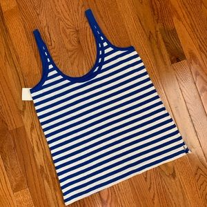 J. Crew Tops - NWT J.Crew Blue & White Strap with Leaves Tank Top